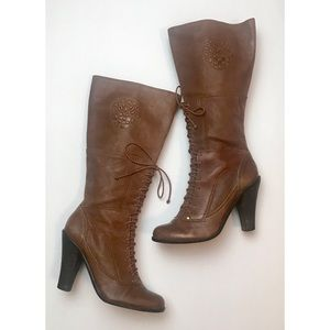 Vince Camuto Lace Up Heeled Boots size 7 EUC